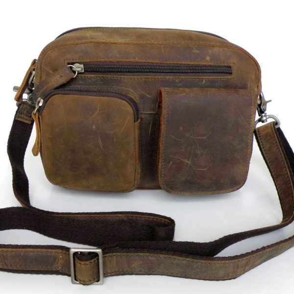 Unique Crazy Horse Leather Men's Shoulder Bag