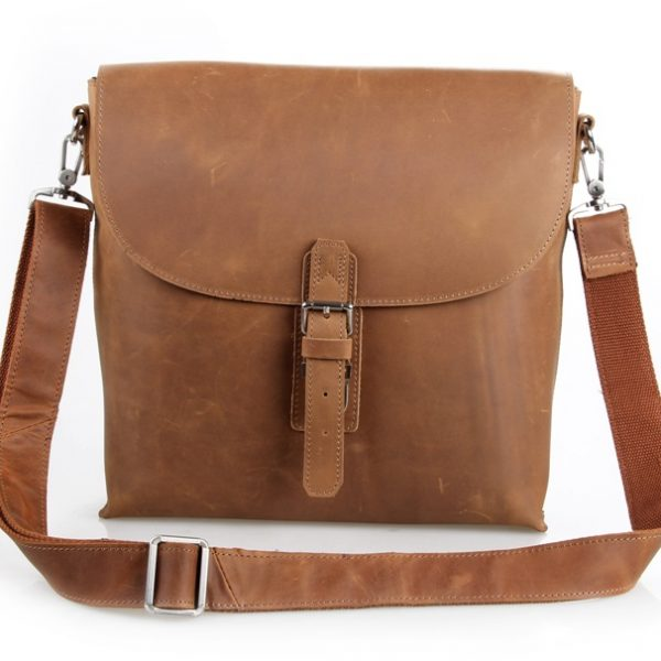 Crazy Horse Leather stylish Brown Unisex Messenger Bag