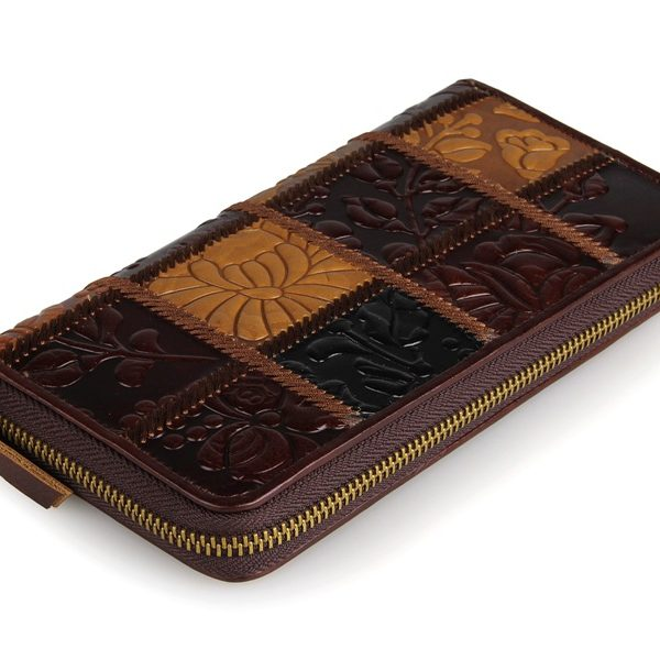 Vintage Leather Square Pattern Zipper Wallet Card