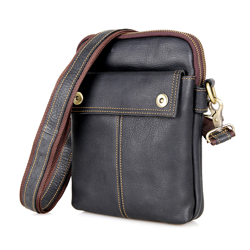 Black Genuine Leather Small Sling Bag