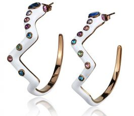 Crystal multi color drop earring