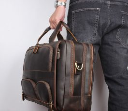 Crazy Horse Leather Men's Briefcase