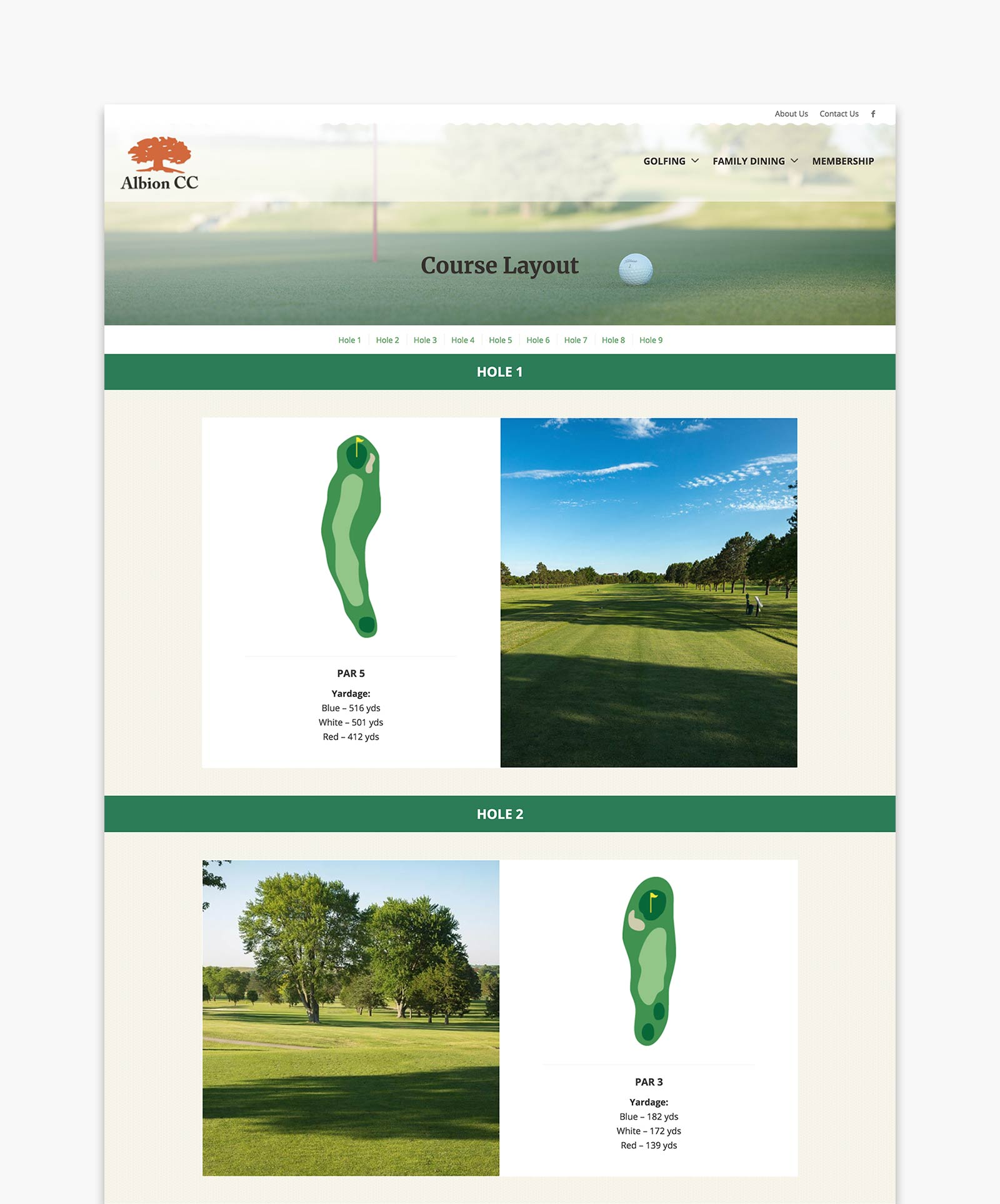 Albion Country Club - Course Layout page design for website