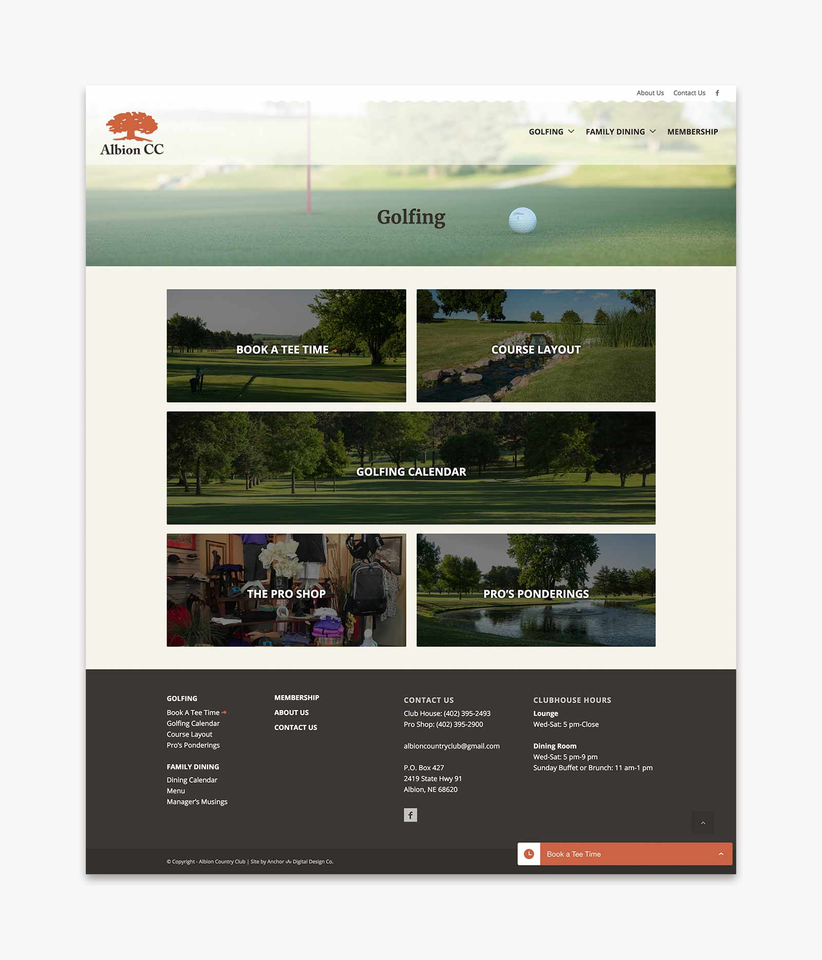 Albion Country Club - Golfing landing page layout for website