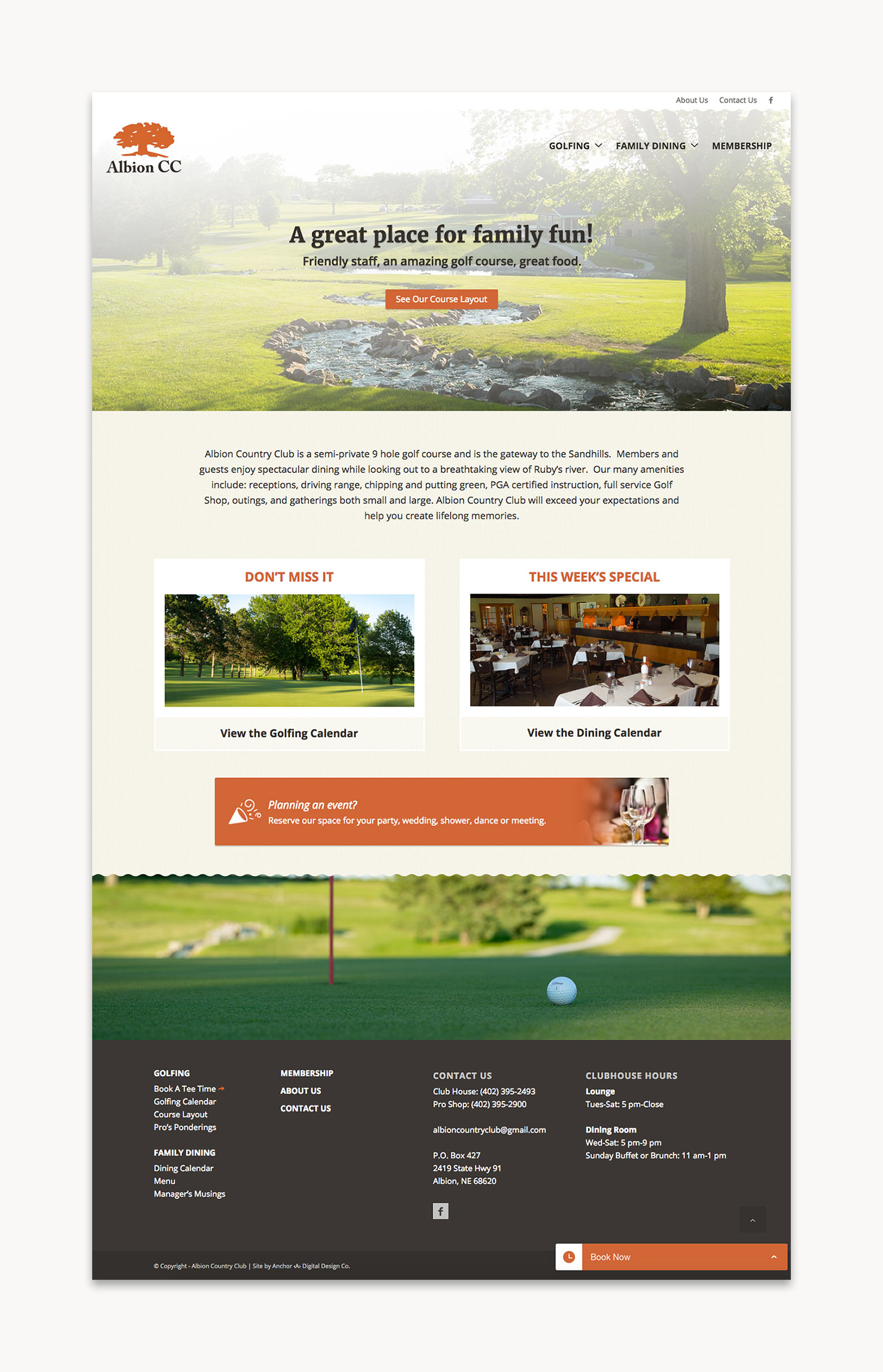 Albion Country Club - Home page layout for website
