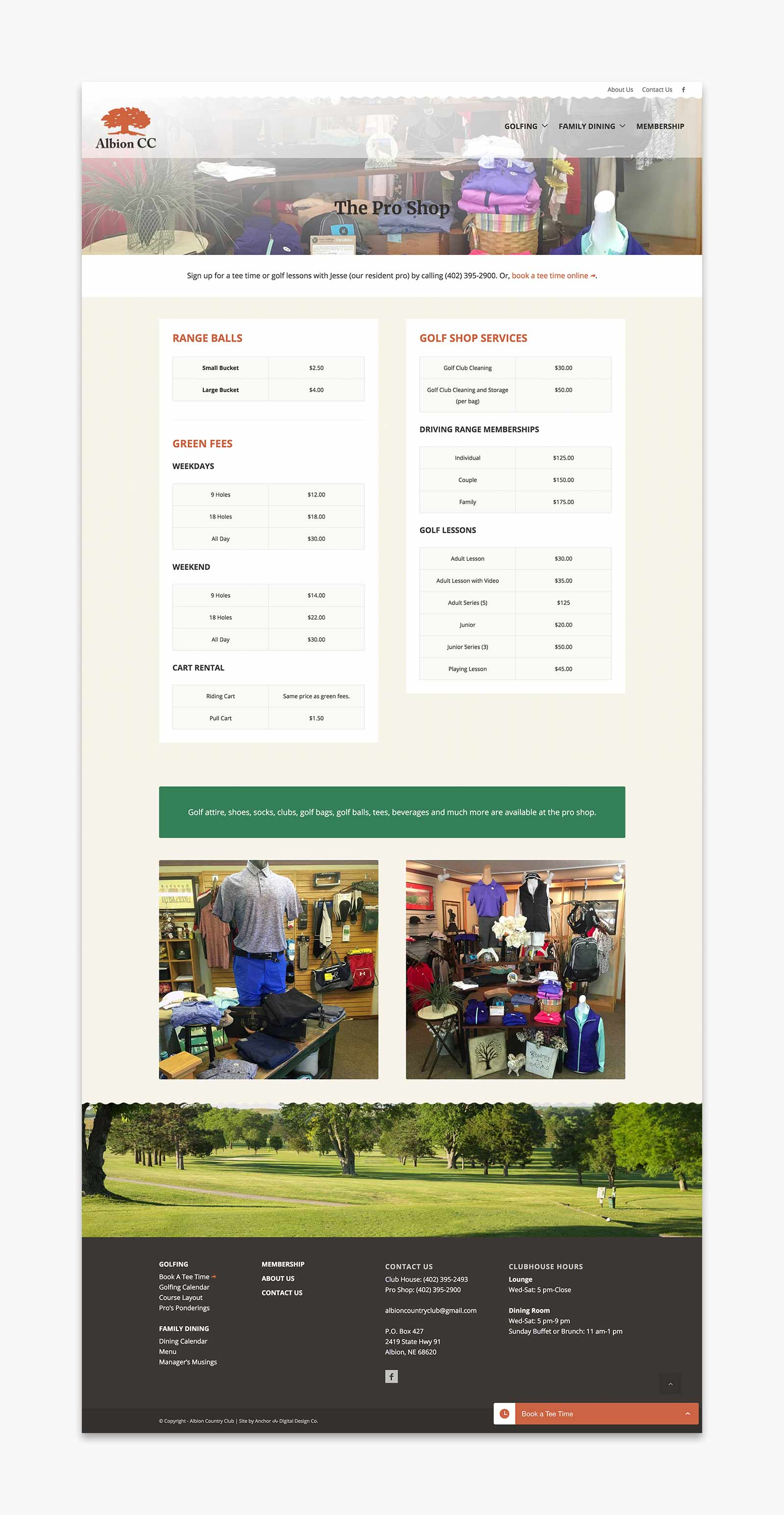 Albion Country Club - The Pro Shop website page layout