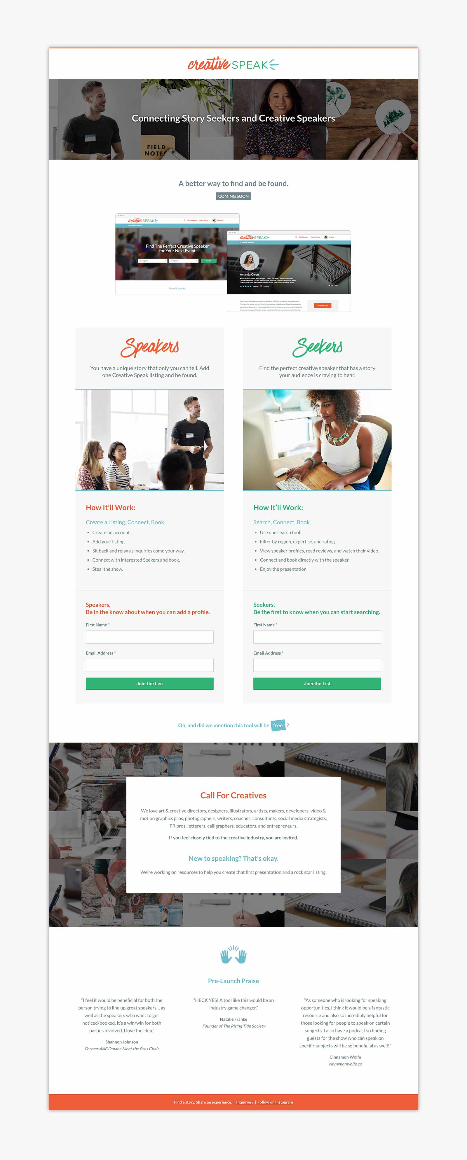 Creative Speak - Landing page layout design