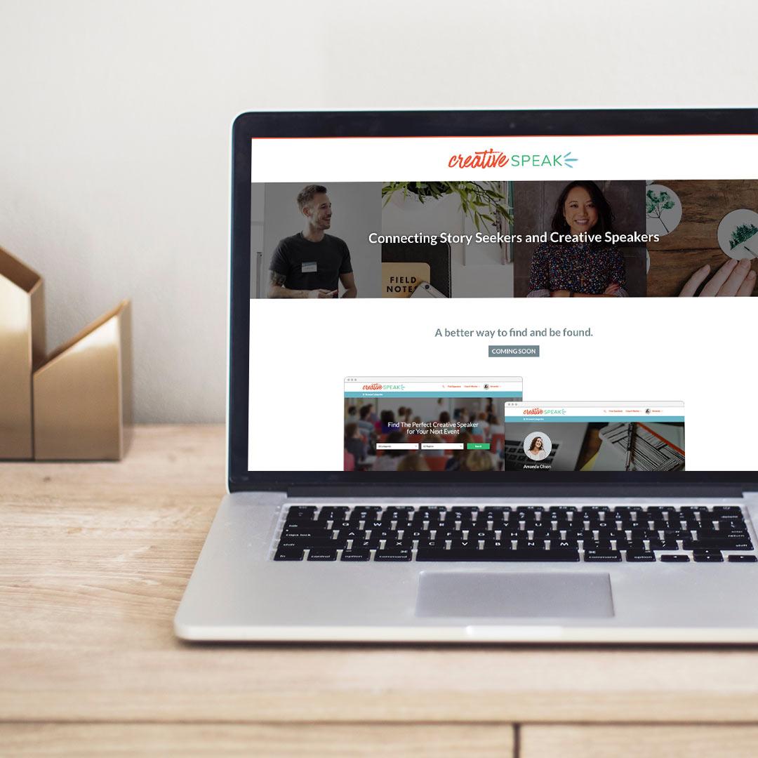 Creative Speak - Landing page shown on Macbook