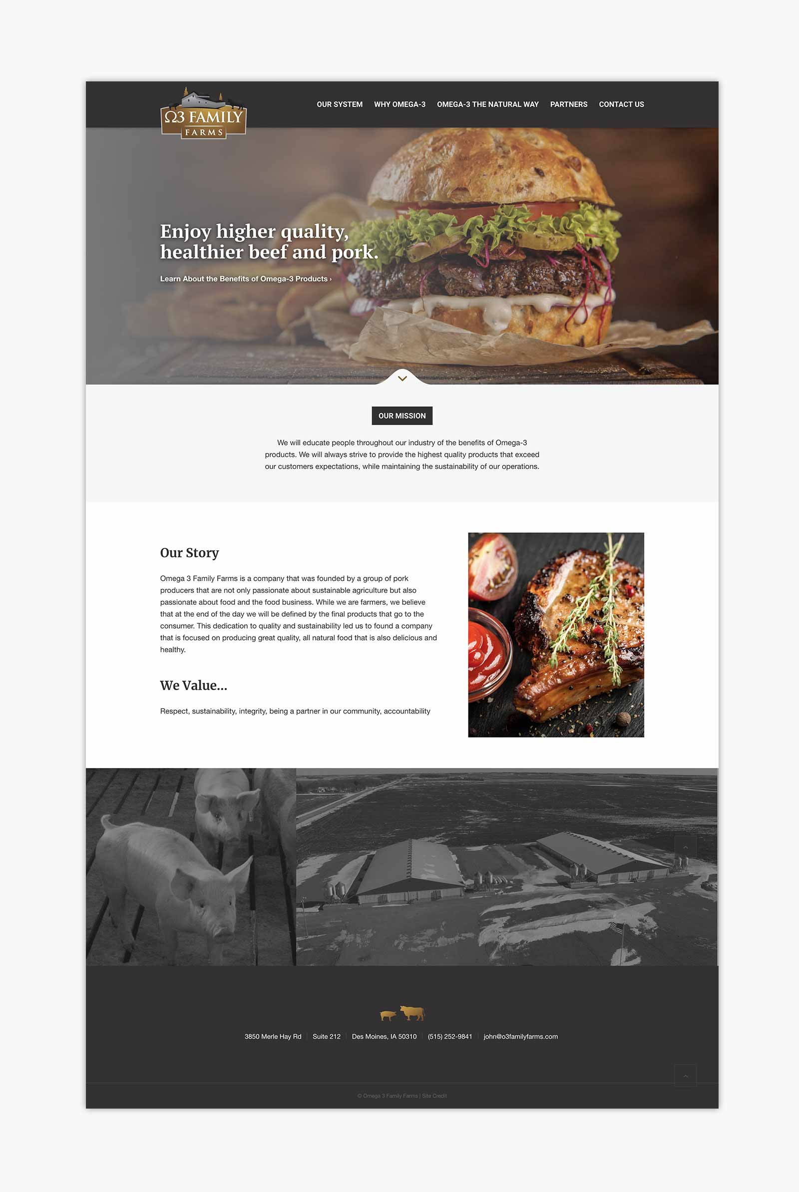 O3 Family Farms - Home page layout for website
