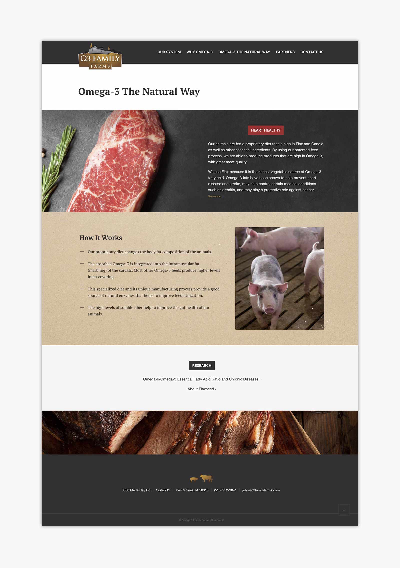 Omega 3 Family Farms - The Natural Way page layout design for website