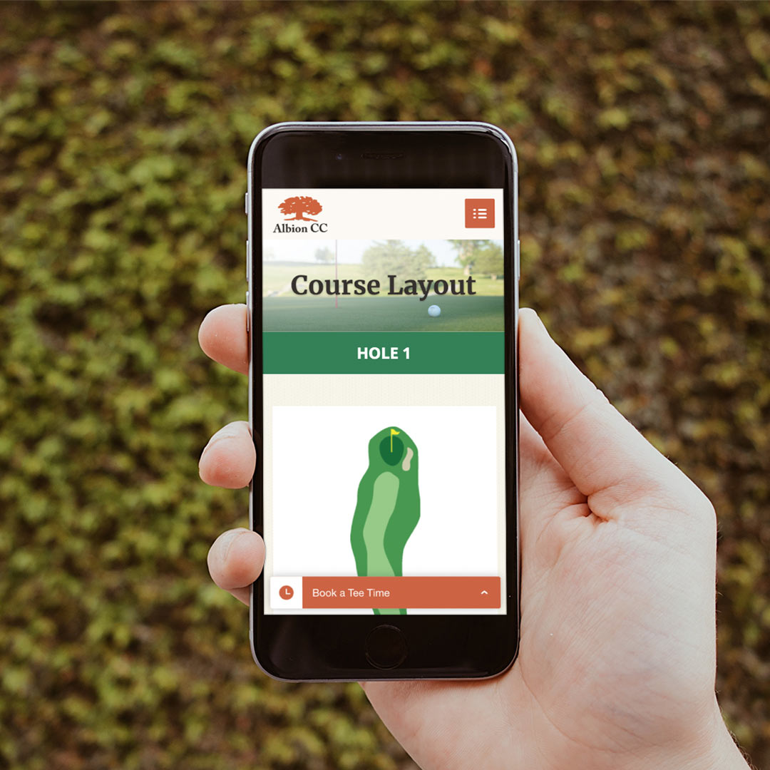 Albion Country Club - Course Layout website page layout on mobile device