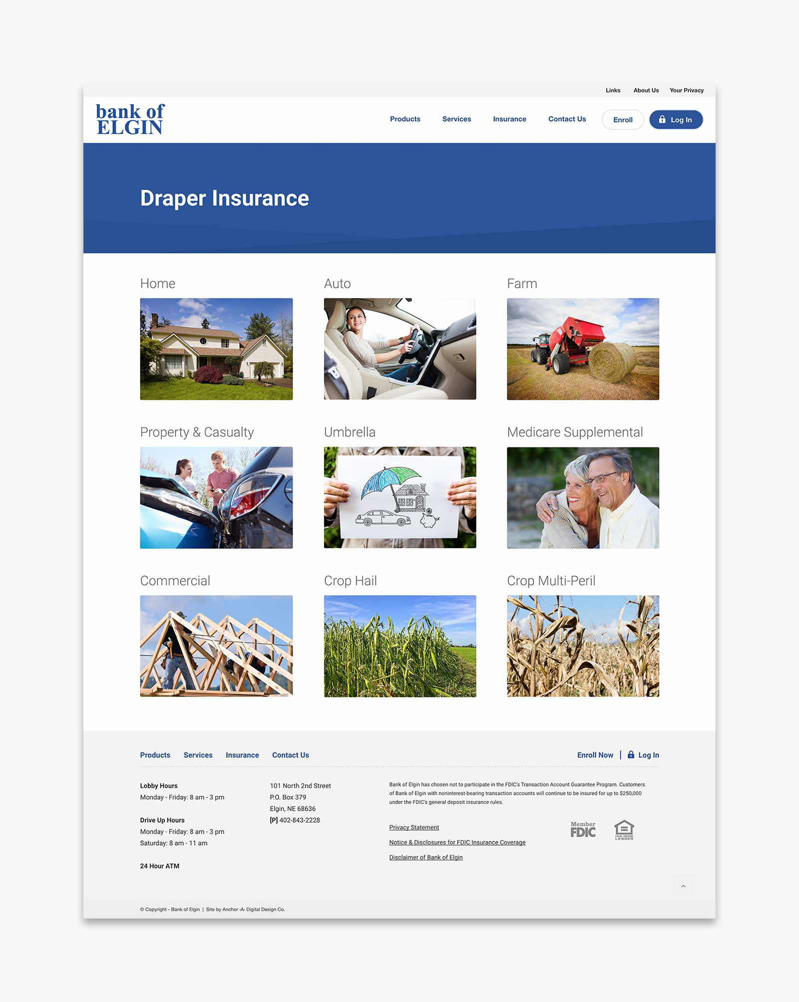Bank of Elgin - Draper Insurance page layout for website