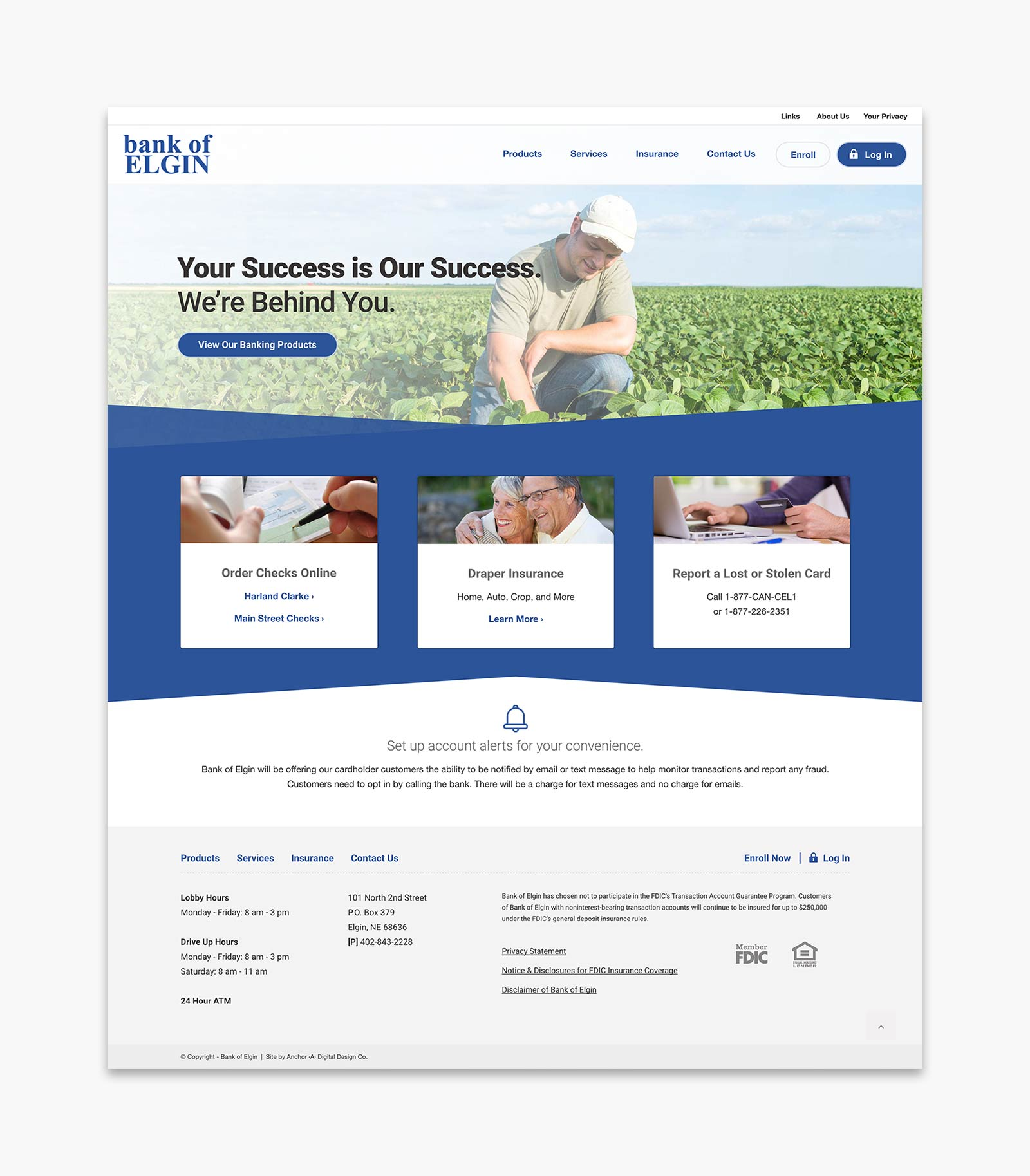 Bank of Elgin - Home page layout for website