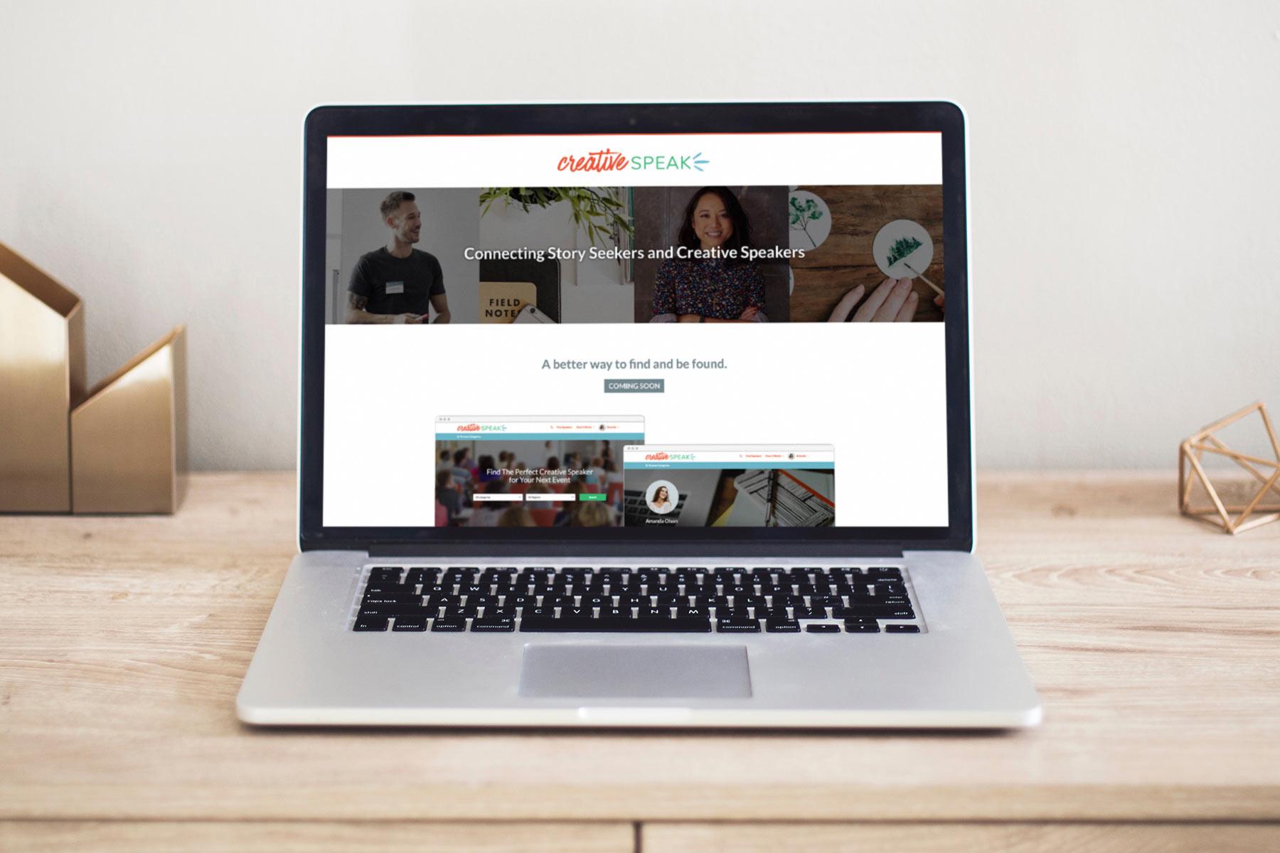 Creative Speak - Landing page design shown on Macbook