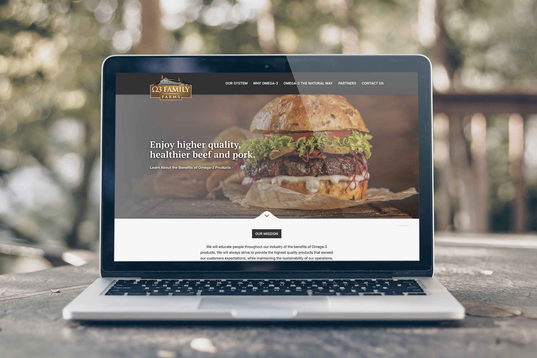 Omega 3 Family Farms - Home page design for website shown on Macbook