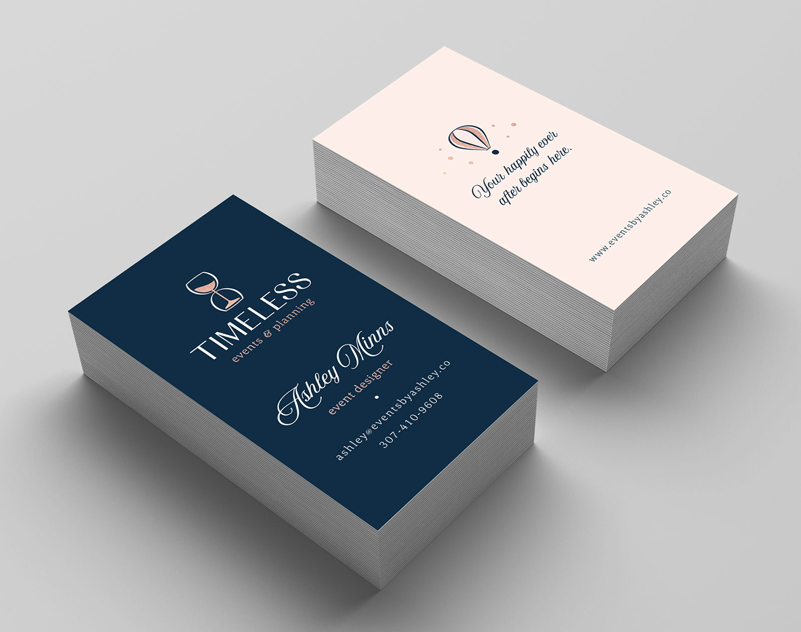 Timeless Events & Planning - business card design