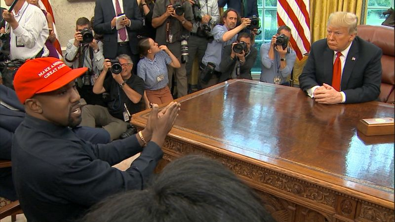 Kanye West and Donald Trump in the Oval Office