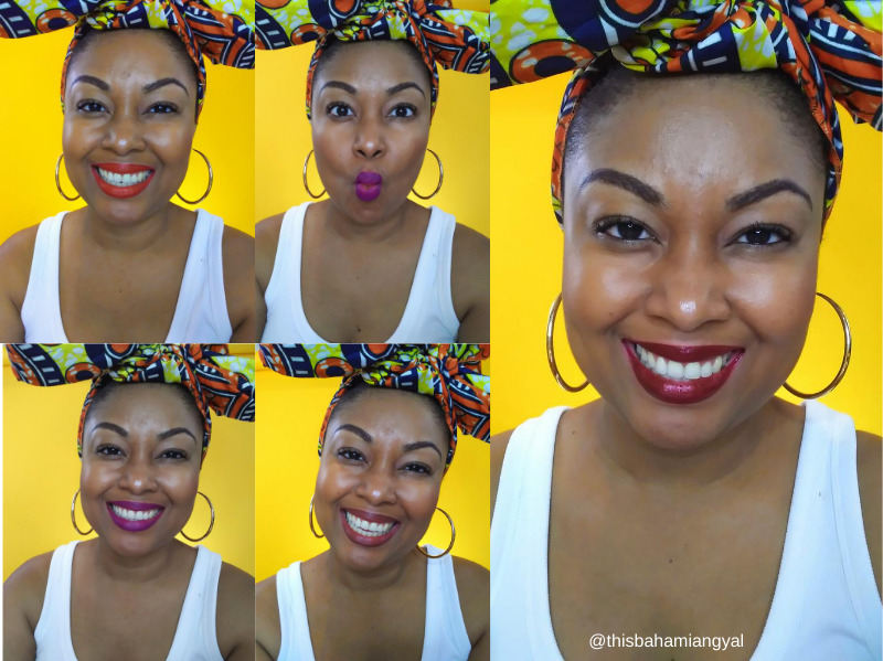 @thisbahamiangyal This Bahamian Gyal blogger poses with various lipsticks, Lady Danger, Urban Decay 1993, Milani 65 for National Lipstick Day.