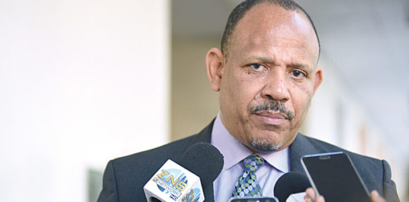 Former Minister of Health Dr. Duane Sands is shown speaking with the media at the Churchill building. (Photo by Torrell Glinton of The Nassau Guardian)