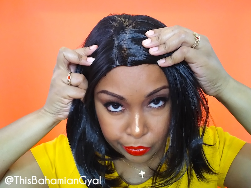 The most horrendous part ever seen on a wig. This Bahamian Gyal blogger, Rogan Smith was a victim of an online wig scam.