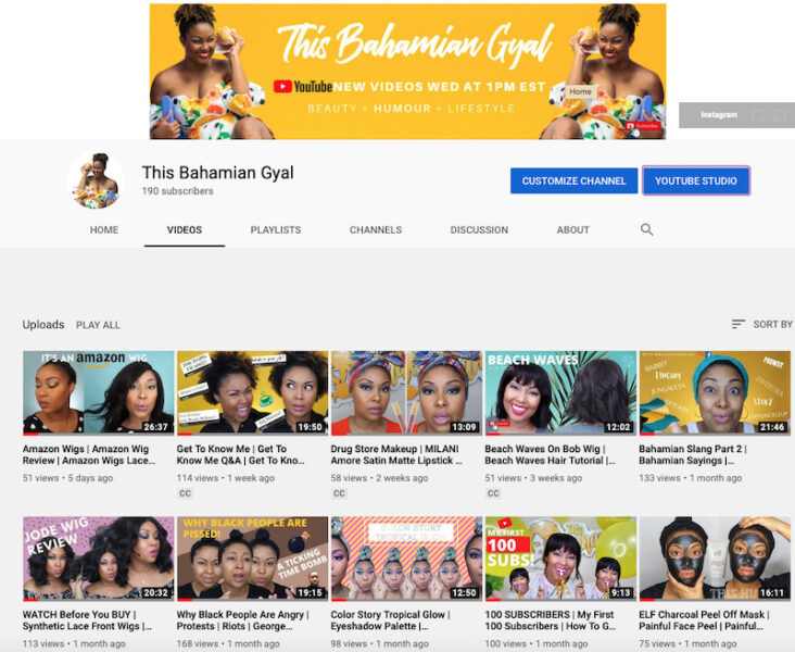 The homepage for This Bahamian Gyal's YouTube channel.