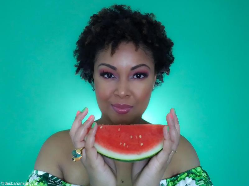 This Bahamian Gyal blogger, Rogan Smith shows up a slice of watermelon. Peep the watermelon-coloured nails, which add a serious pop of colour to the overall look.