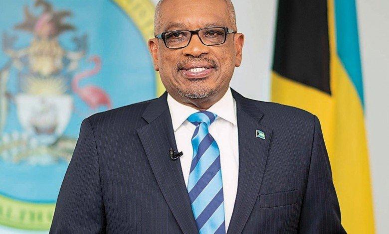 Bahamas Prime Minister Dr. Hubert Minnis giving a national address.
