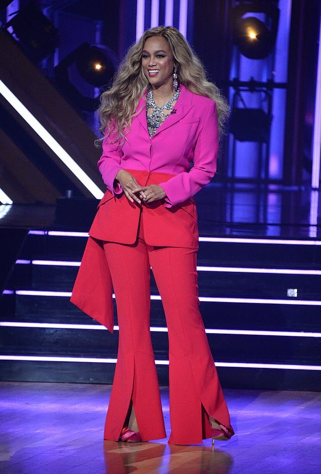 Tyra Banks shows off her outfit change on Monday night's Dancing with the Stars.