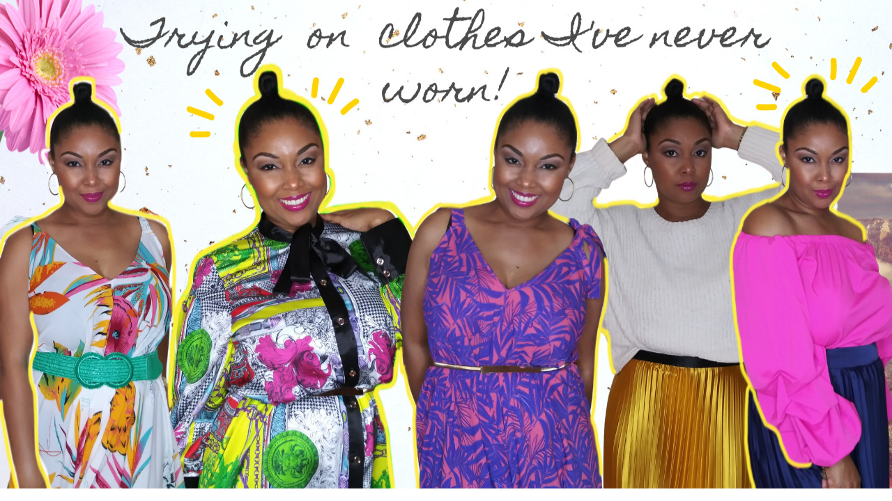 Black YouTube vlogger, Rogan Smith wears multiple outfits. She is showing readers how to shop their closet.