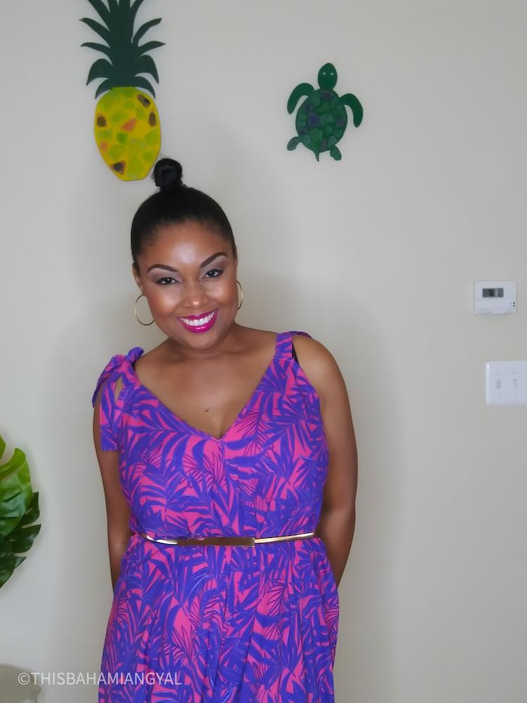 Black beauty blogger wears colourful romper