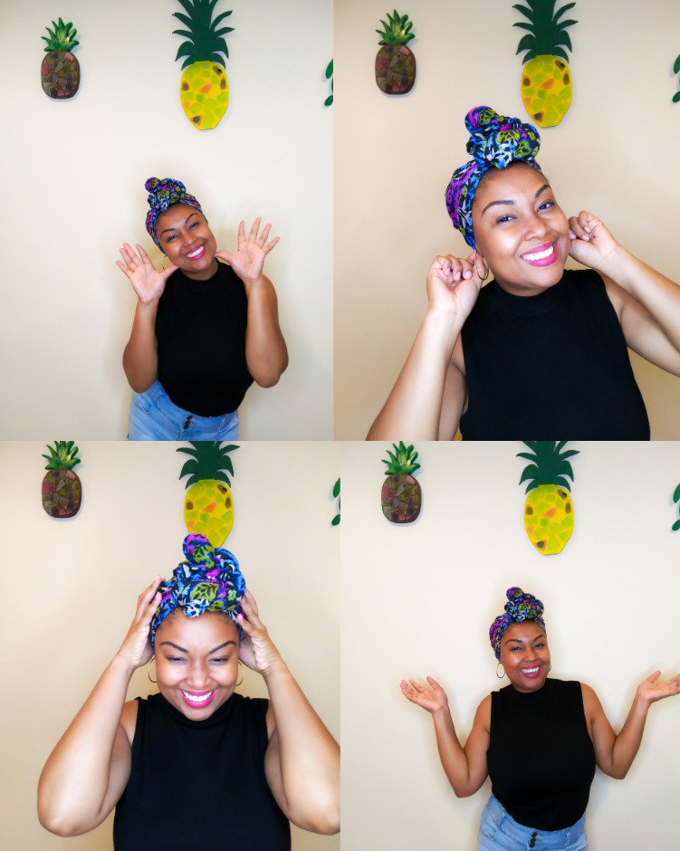 DC-based blogger, Rogan Smith shows off her beautiful head scarf. This is how your scarf should look when you're done.