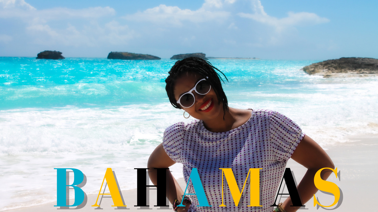 Image of This Bahamian Gyal blogger posing on a beach in Exuma, The Bahamas