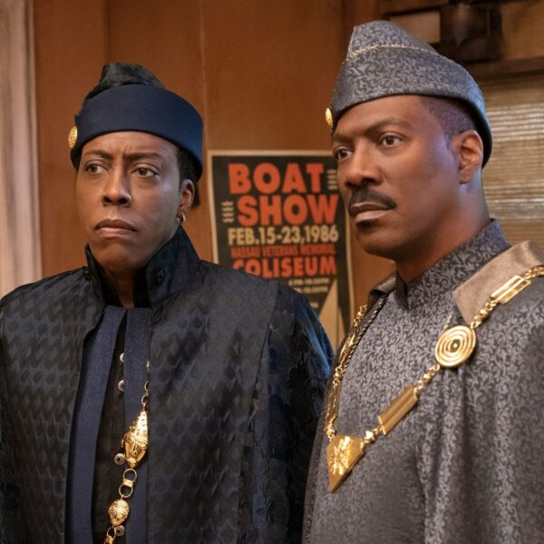 Coming 2 America movie poster with Arsenio Hall and Eddie Murphy in costume