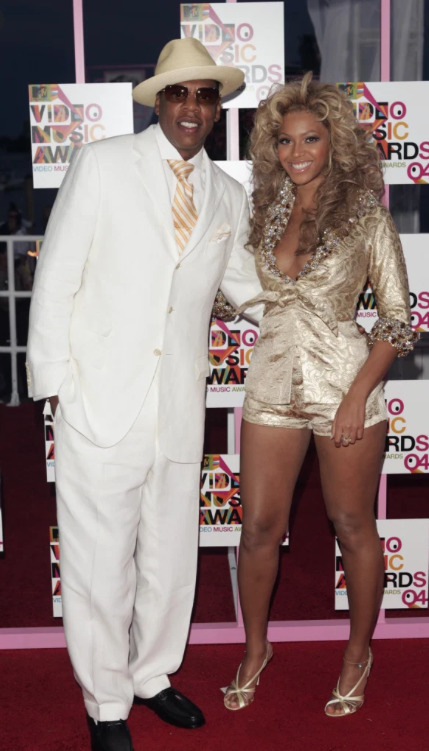 Rapper Jay-Z and his then-girlfriend, Beyonce attend the Video Music Awards in 2004. This was their first public outing as a couple.
