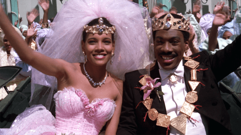 Shari Headley and Eddie Murphy in the final scene of the 1988 film, Coming To America.