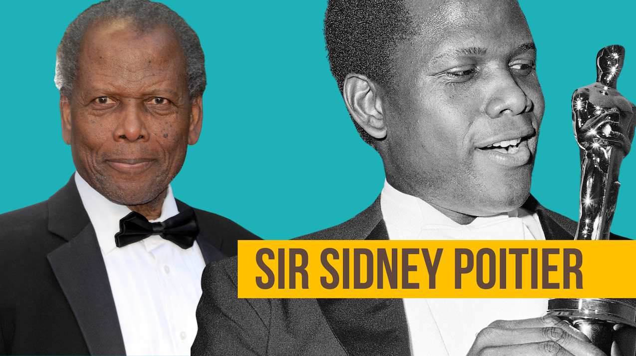 Image of Sir Sidney Poitier holding his Academy Award.