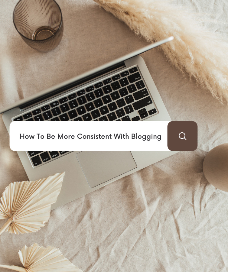 Image of an open laptop with a search bar asking ways to be more consistent with blogging