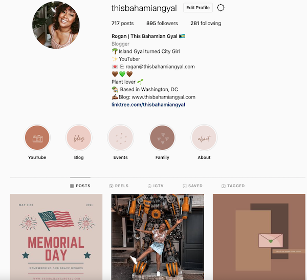 Image of This Bahamian Gyal blogger, Rogan Smith's Instagram profile page
