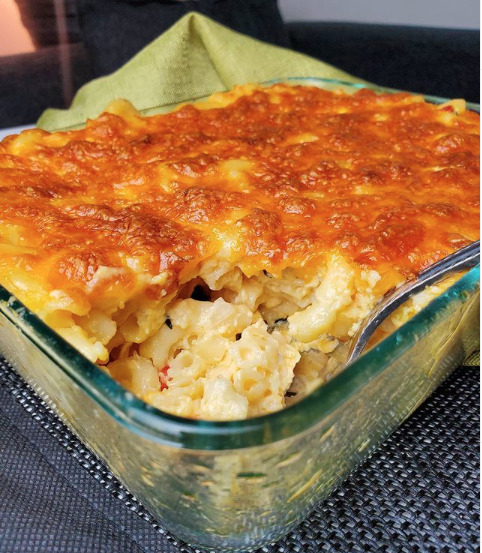Image of Bahamian macaroni and cheese in a glass pan