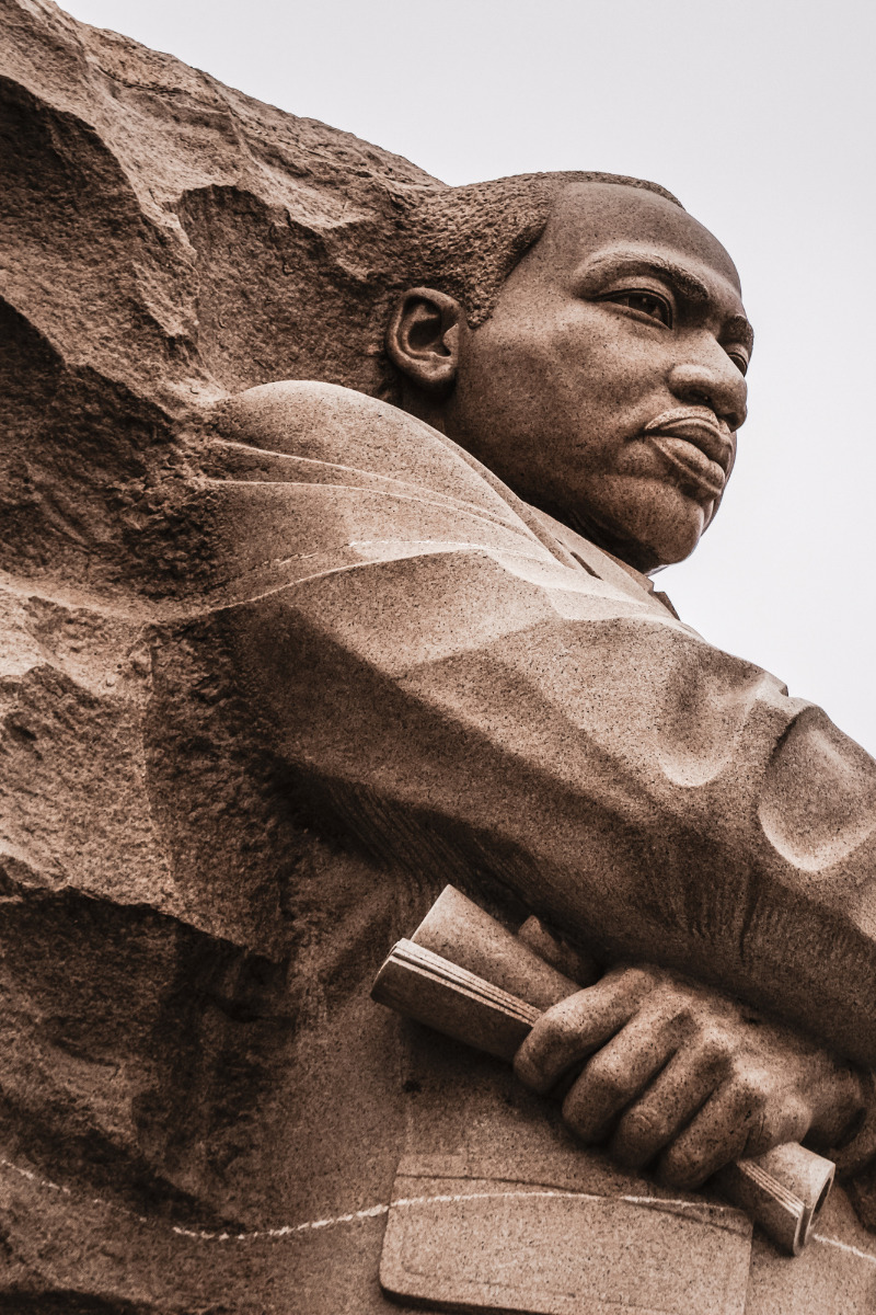 Photo of the Martin Luther King Jr stone statue in Washington, DC.
