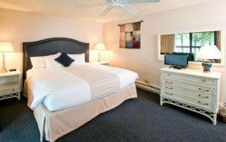 Beachhouse well lit bedroom with large bed and dressers