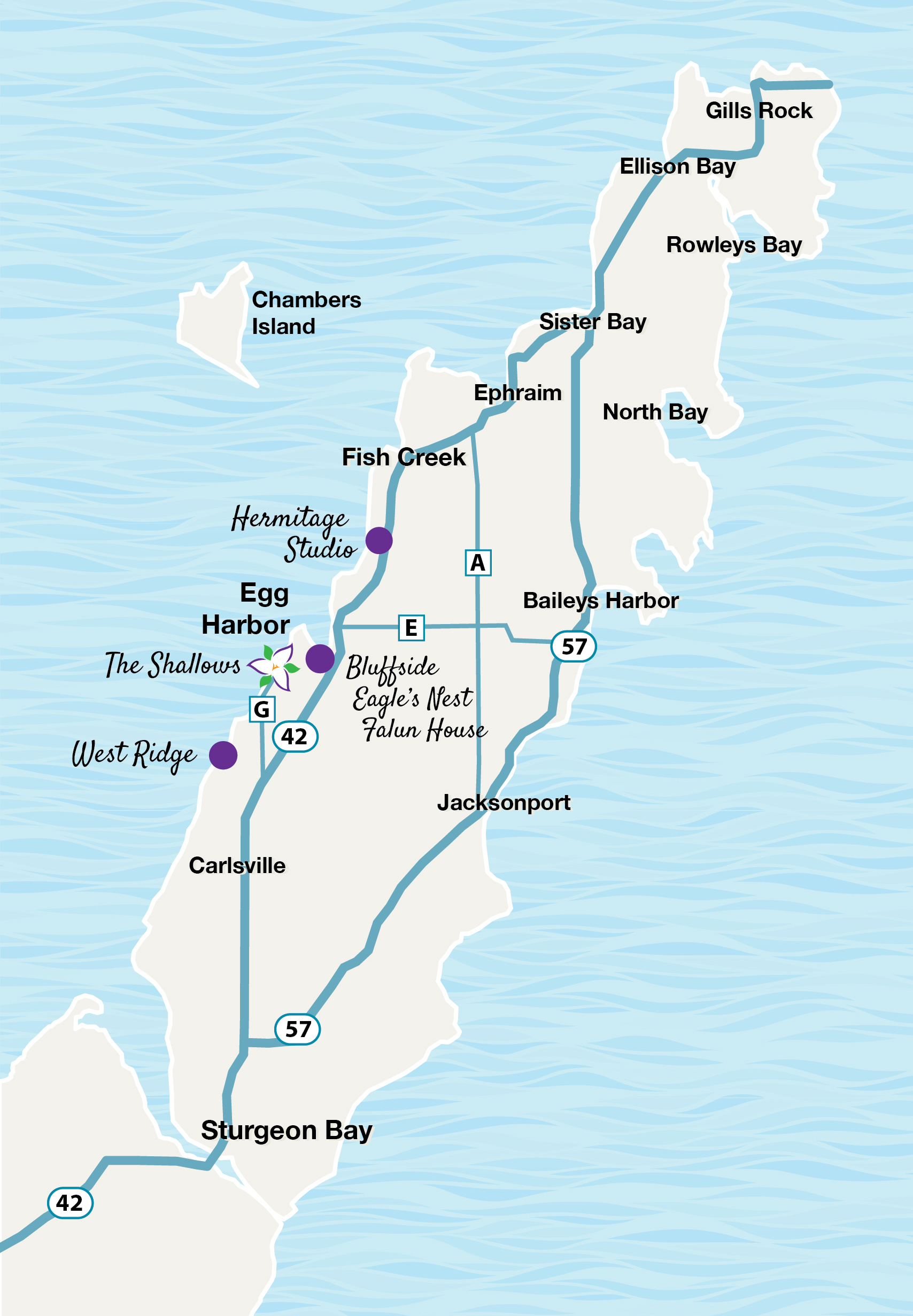 Illustrated map of Door County showing location of the Shallows Resort