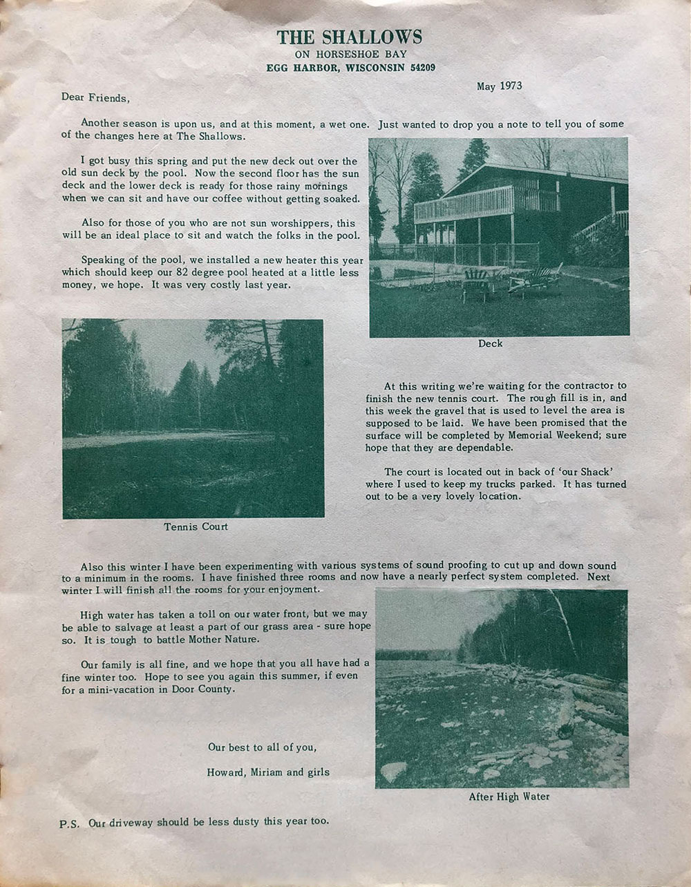 Vintage newsletter describing Shallows accommodations