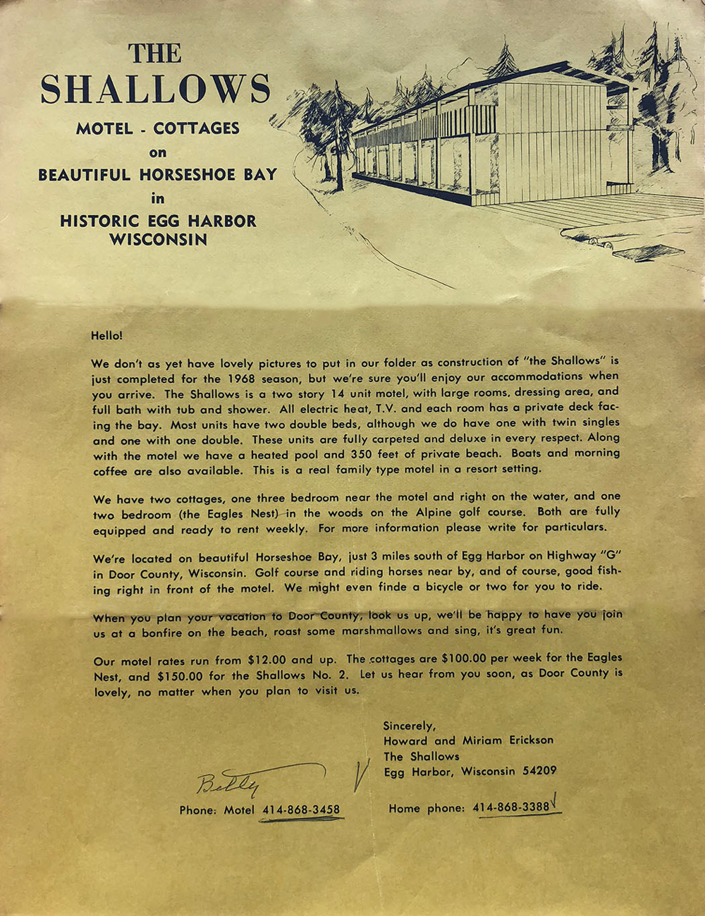 1968 letter from owners introducing the Shallows Resort