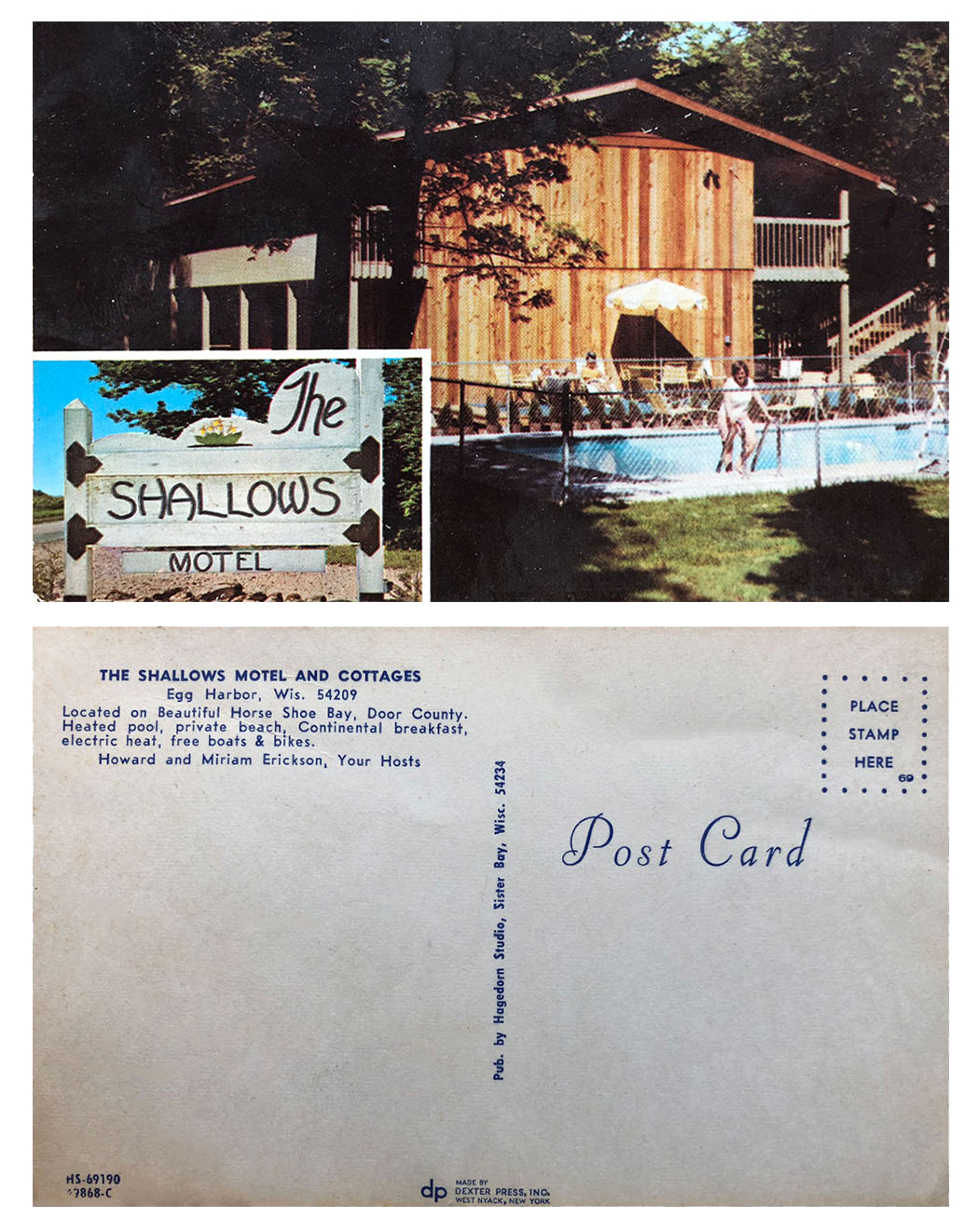 Vintage postcard of Shallows motel and sign