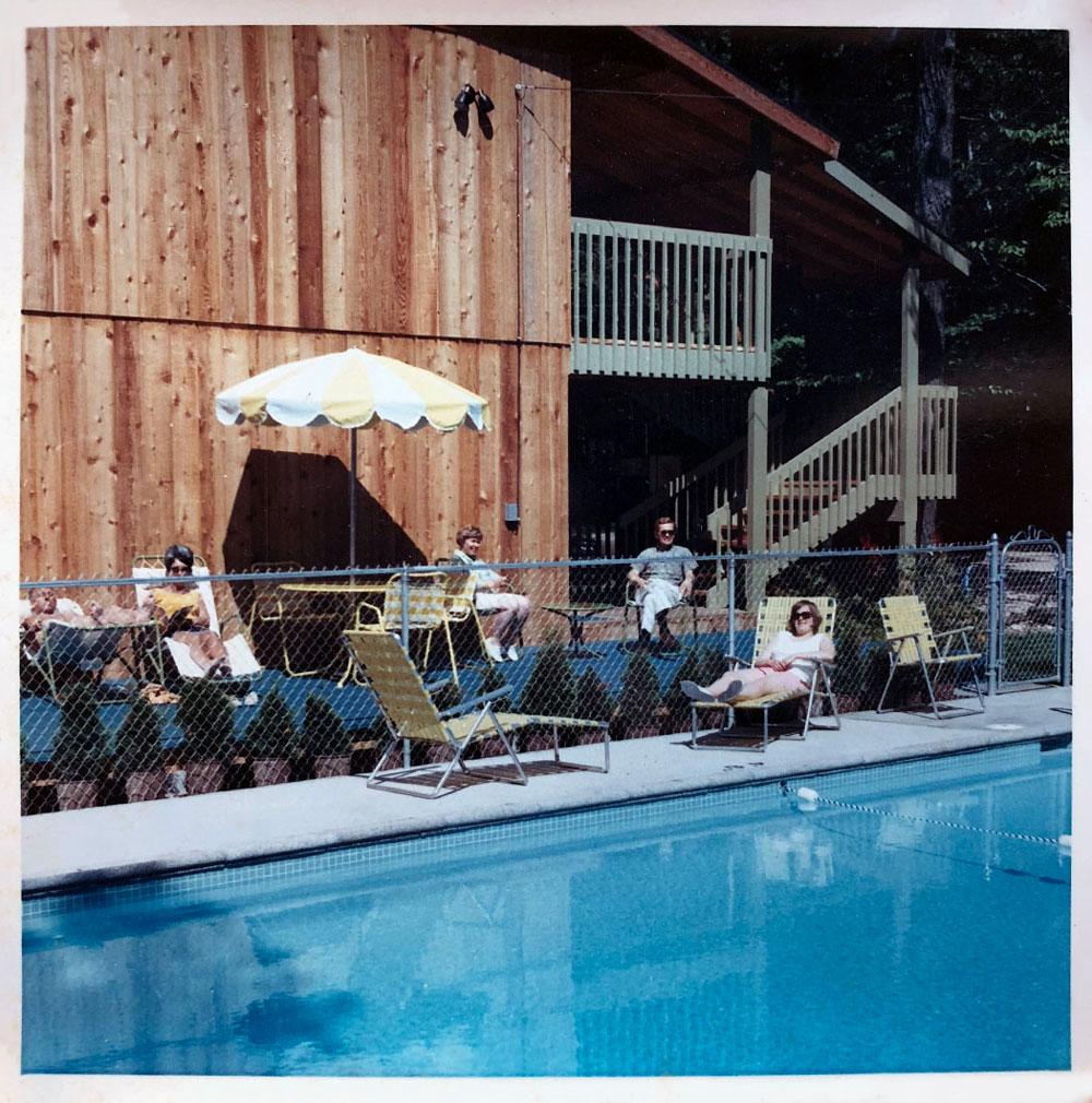 Poolside photo with people - from 1960s