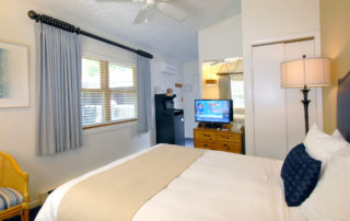 Woodview room interior with large bed, TV and window