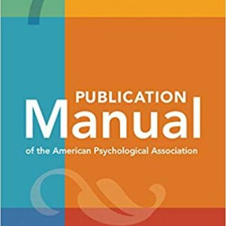 Publication Manual of the American Psychological Association 7th 7 Seven Edition