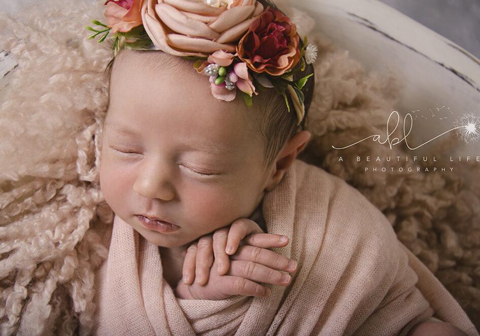 Little Rock, AR Newborn Photographer A Beautiful Life Photography newborn baby girl pink floral