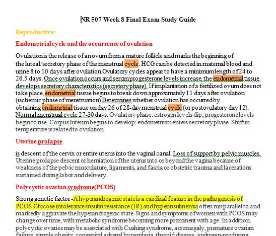 nr 507 week 8 study guide